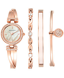 Anne Klein Women's Crystal Accent Rose Gold-Tone Stainless Steel Bangle Bracelet Watch & Bracelets Set 26mm