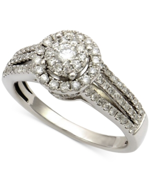 Diamond Halo Cluster Engagment Ring (3/4 ct. t.w.) in 14k White Gold
