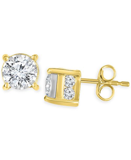 TruMiracle Diamond Stud Earrings 3 4 Ct Tw In 14k White Gold Rose Or