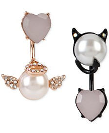 Betsey Johnson Two-Tone Faux-Pearl and Crystal Angel and Devil Front and Back Mismatch Earrings