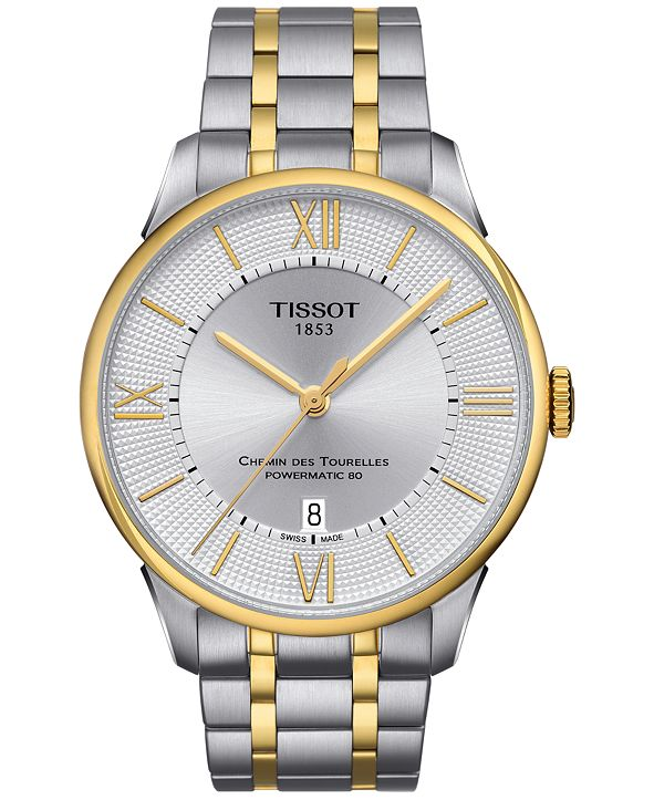 Tissot Men's Swiss Automatic Chemin Des Tourelles PVD Two-Tone Stainless Steel Bracelet Watch 42mm T0994072203800