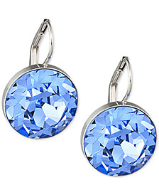 Swarovski Silver-Tone Blue Crystal Drop Earrings