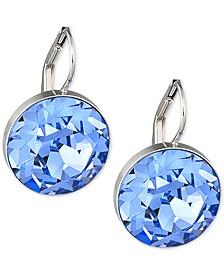 Swarovski Silver Tone Blue Crystal Drop Earrings