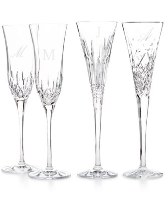 waterford monogram set of 2 toasting flutes collection script or block letters - Waterford Champagne Flutes