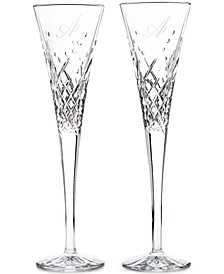 Wishes Happy Celebrations Script Letter Monogram Toasting Flutes, Set Of 2