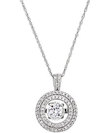 Diamond Halo Twinkle Pendant Necklace (1/3 ct. t.w.) in 10k White Gold