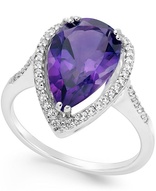 Macy's Amethyst (4 ct. t.w.) and White Topaz (1/4 ct. t.w.) Halo Ring in Sterling Silver