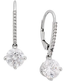 Swarovski Cubic Zirconia Earrings in 14k White Gold