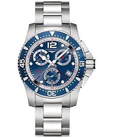 Longines Men's Swiss Chronograph HydroConquest Stainless Steel Bracelet Watch 41mm L37434966