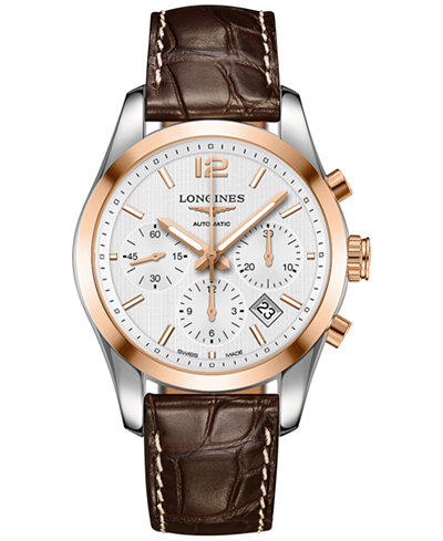 Longines men 39 s swiss automatic chronograph conquest classic brown leather strap watch 41mm for Longines leather strap
