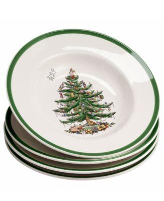 Dinnerware, Set of 4 Christmas Tree Rim Soup Bowls