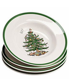 Spode Dinnerware, Set of 4 Christmas Tree Rim Soup Bowls