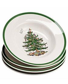 Spode Dinnerware, Set of 4 Christmas Tree Rim Soup Bowls
