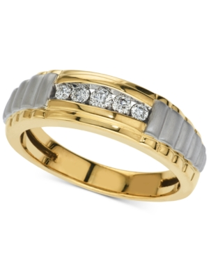 Men's Five-Stone Diamond Two-Tone Ring (1/4 ct. t.w.) in 10k Gold