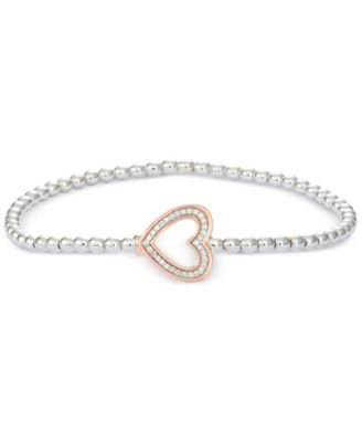 Diamond Heart Stretch Bead Bracelet (1/6 ct. t.w.) in 10k Rose Gold and Sterling Silver, Created for Macy's