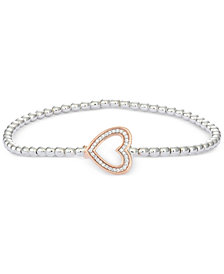 wrapped™ Diamond Heart Stretch Bead Bracelet (1/6 ct. t.w.) in 10k Rose Gold and Sterling Silver, Created for Macy's