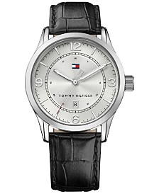 Tommy Hilfiger Men's Casual Sport Black Leather Strap Watch 42mm , Created for Macy's