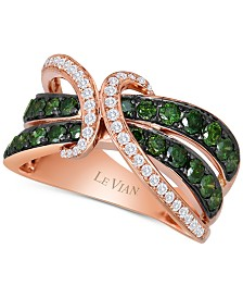 Le Vian Exotics® Gladiator® Green and White Diamond Ring (1 1/4 ct. t.w.) in 14k Rose Gold