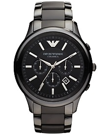 Emporio Armani Men's Chronograph Black Ceramic Bracelet Watch 47mm AR1451