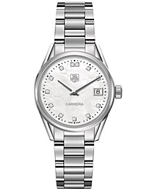 Women's Swiss Carrera Diamond (1/10 ct. t.w.) Stainless Steel Bracelet Watch 32mm