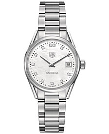 TAG Heuer Women's Swiss Carrera Diamond (1/10 ct. t.w.) Stainless Steel Bracelet Watch 32mm