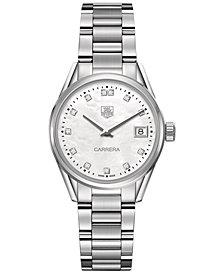 TAG Heuer Women's Swiss Carrera Diamond (1/10 ct. t.w.) Stainless Steel Bracelet Watch 32mm WAR1314.BA0778