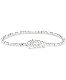 Wrapped™ Diamond Leaf Beaded Stretch Bracelet (1/6 ct. t.w.) in Sterling Silver, Created for Macy's