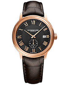 RAYMOND WEIL Men's Swiss Automatic Maestro Brown Leather Strap Watch 40mm 2238-PC5-00209