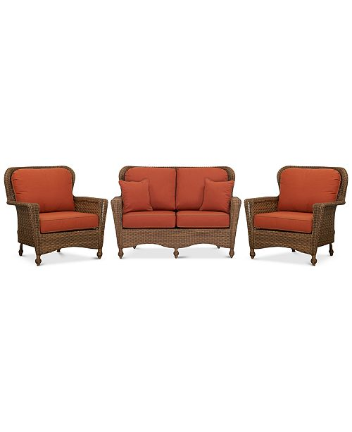 Furniture Havanna Outdoor 3-Pc. Set (1 Loveseat & 2 Club Chairs)