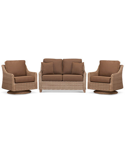 Willough Outdoor 3 Pc Set 1 Loveseat Amp 2 Swivel Gliders