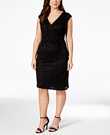 Connected Plus Size Cap-Sleeve Sequin Lace Dress