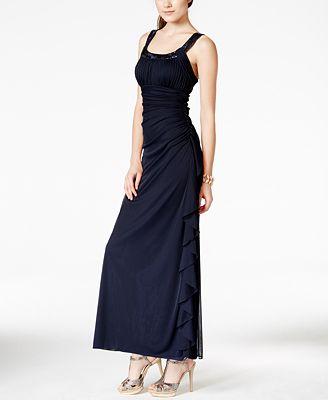 Blondie Nites Juniors' Sequin-Trim Ruched-Side Empire-Waist Dress