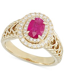 Certified Ruby (2/3 ct. t.w.) and Diamond (1/3 ct. t.w.) Heart Ring in 14k Gold