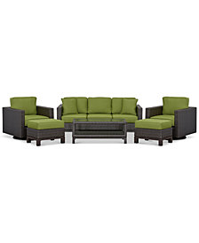 CLOSEOUT! Katalina Outdoor Wicker 6-Pc. Seating Set (1 Sofa, 2 Swivel Gliders, 1 Coffee Table and 2 Ottomans), Created for Macy's