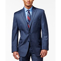 Calvin Klein Mens Blue Wool Slim Fit Two-button Suit Jacket Blazer