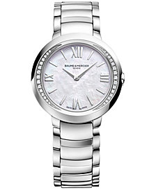 Baume & Mercier Women's Swiss Promesse Diamond (1/6 ct. t.w.) Stainless Steel Bracelet Watch M0A10160