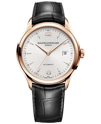 Baume & Mercier Men's Swiss Automatic Clifton Black Leather Strap Watch 39mm M0A10058