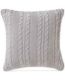 Dublin Cable Knit Cotton Decorative Pillow, 18 x 18