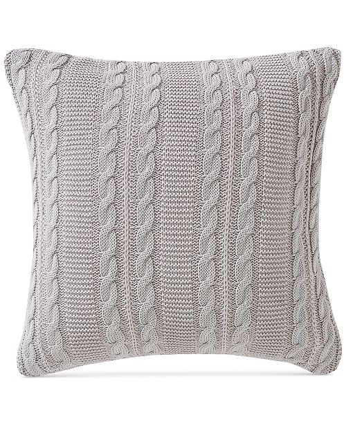 "Victoria Classics Dublin Cable-Knit 18"" Square Decorative Pillow"