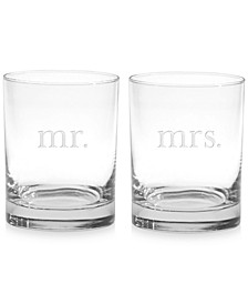 Mr. & Mrs. Double Old-Fashioned Glasses, Set of 2