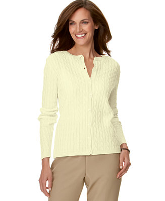 Alfred dunner petite cable knit cardigan sweaters for Alfred dunner wedding dresses