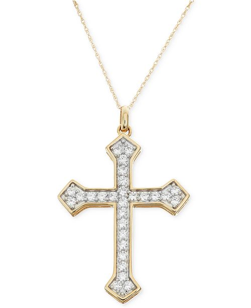 Macy's Diamond Cross Pendant Necklace (1 ct. t.w.) in 14k Gold