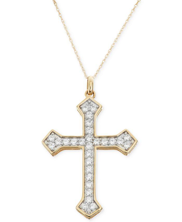 Macy's - Diamond Cross Pendant Necklace (1 ct. t.w.) in 14k Gold