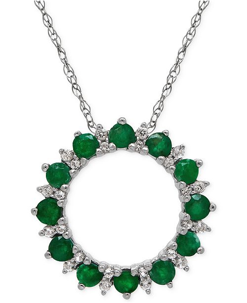 Macy's Emerald (9/10 ct. t.w.) and White Topaz (1-9/10 ct. t.w.) Circle Pendant Necklace in Sterling Silver