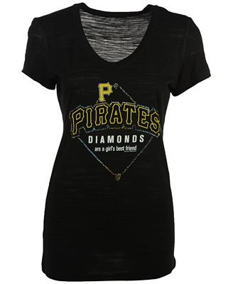 Soft As A Grape Women's Pittsburgh Pirates Diamonds Best Friend T-Shirt
