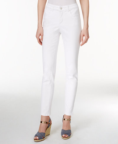 Charter Club Petite Tummy-Control Bright White Wash Skinny Jeans, Created for Macy's