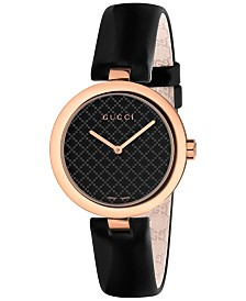 Gucci Women's Swiss Diamantissima Black Leather Strap Watch 32mm YA141401
