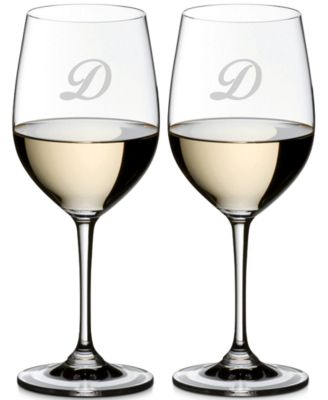 Vinum Monogram Collection 2-Pc. Script Letter Chardonnay/Chablis Wine Glasses