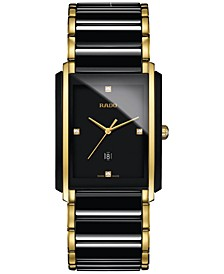 Men's Swiss Integral Diamond Accent Black Ceramic & Gold-Tone Stainless Steel Bracelet Watch 31x41mm R20204712
