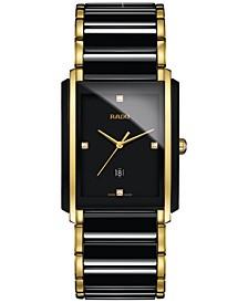 Men's Swiss Integral Diamond Accent Black Ceramic & Gold-Tone Stainless Steel Bracelet Watch 31x41mm R20204712